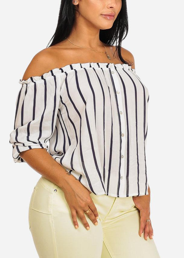 Off Shoulder White Stripe Top