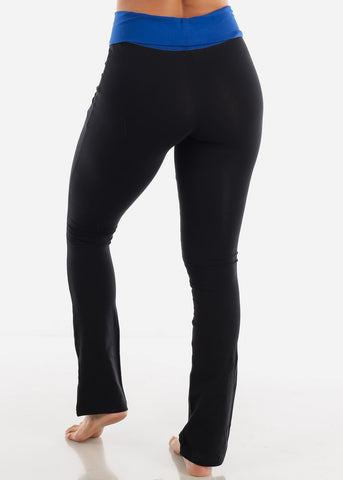 Image of Blue Fold Over Yoga Pants