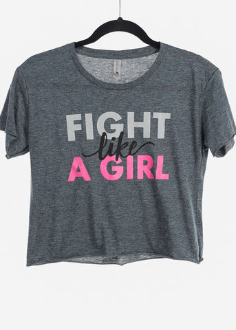 "Image of Stone Wash Denim Crop Top ""Fight Like A Girl"""