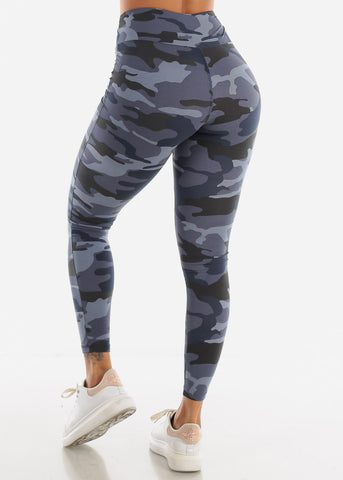 Image of Activewear High Waisted Navy Camouflage Leggings