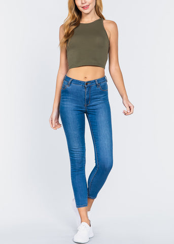 Sleeveless Crop Olive Top