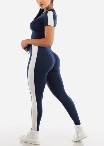 Image of Stripe Trim Navy Crop Top & Leggings (2 PCE SET)