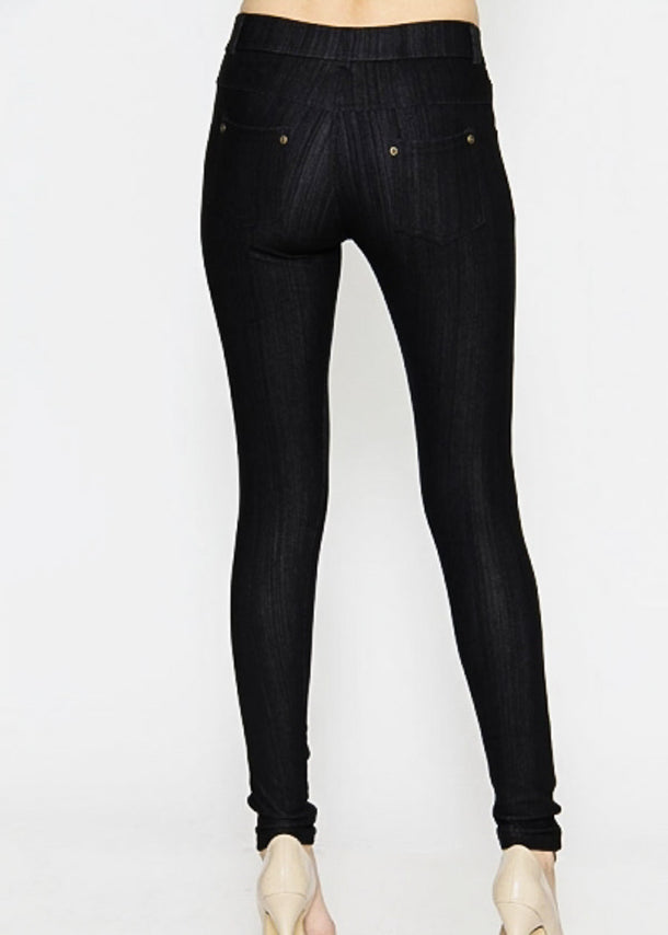 Mid Rise Fashion Button Leggings