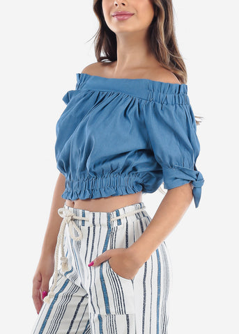 Cute Off Shoulder Medium Wash Denim Crop Top For Women Junior Ladies
