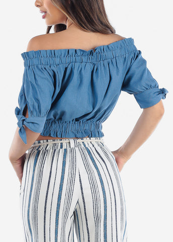 Off Shoulder Denim Crop Top