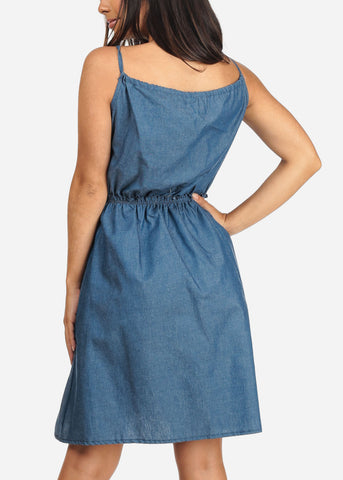 Women's Junior Ladies Stylish Summer Going Out Brunch Date Beach Cute Must Have Sleeveless Elastic Waist Line Medium Wash Denim Dress