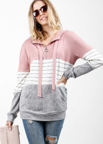 Striped Colorblock Multicolor Hoodie