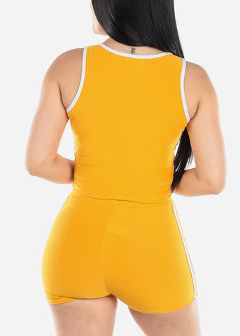 Image of Activewear Mustard Top & Shorts (2 PCE SET)