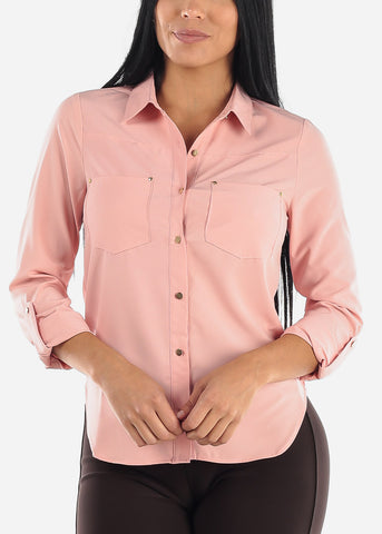 Image of Button Up Pink Dressy Shirt