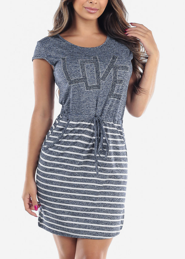 Women's Junior Ladies Casual Stretchy Rhinestone Partial Stripe Light Navy Dress