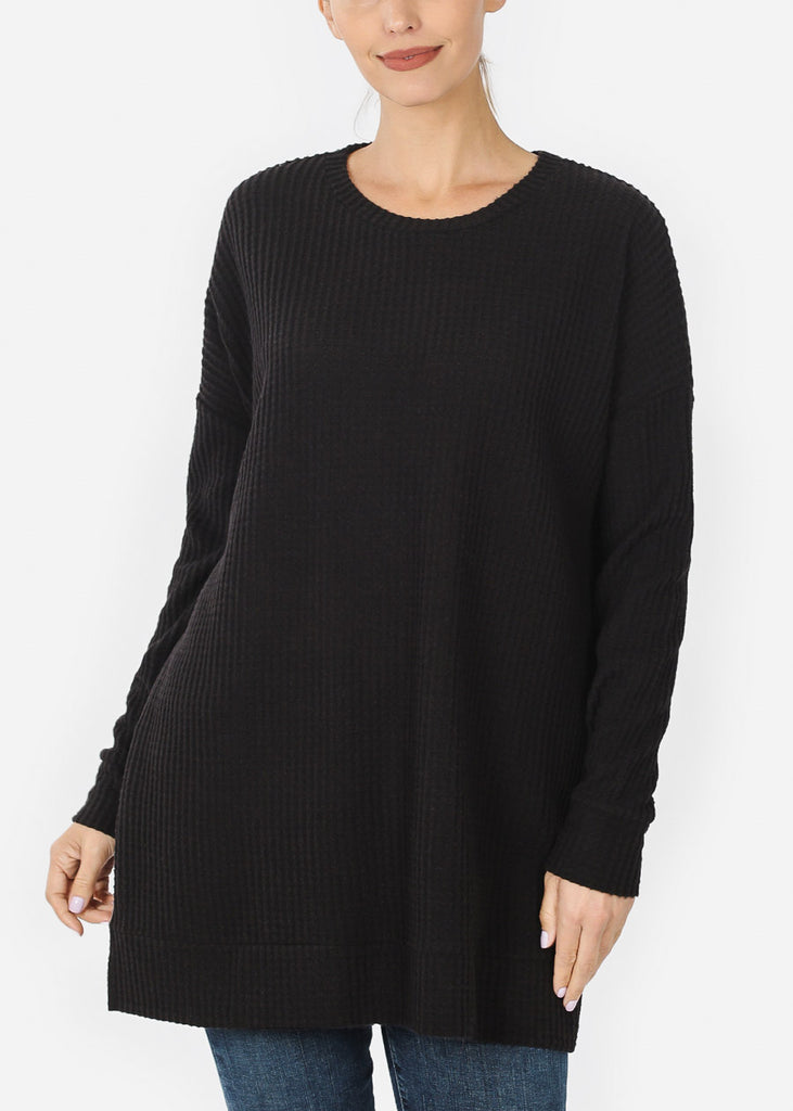 Black Bushed thermal Waffle Sweater