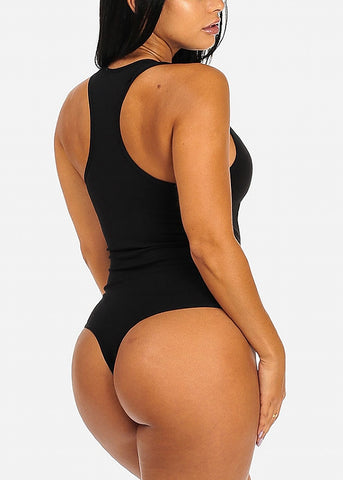 Image of Black Racerback Bodysuit