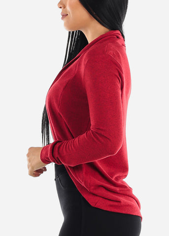 Image of Long Sleeve Open Front Red Cardigan