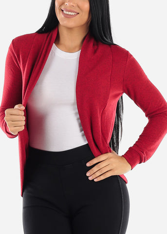 Long Sleeve Open Front Red Cardigan