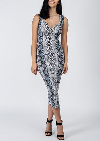Image of Snake Print Bodycon Midi Dress
