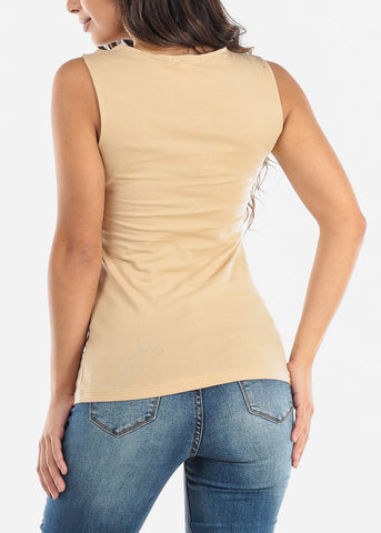 Partial Floral Mesh Beige Tank Top