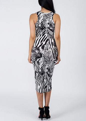 Image of Zebra Print Bodycon Midi Dress