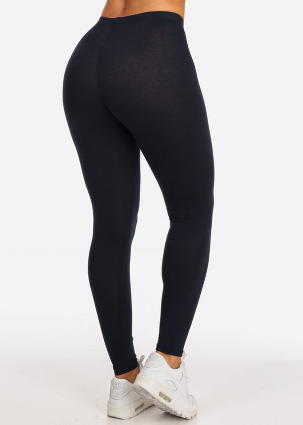 Solid Navy Stretchy Leggings
