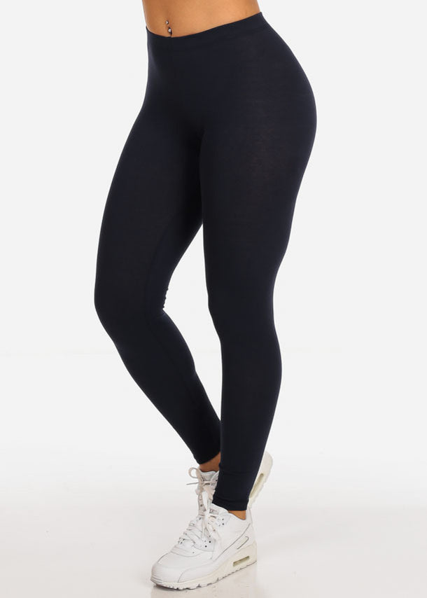 Essential Mid Rise Stretchy Navy  Leggings