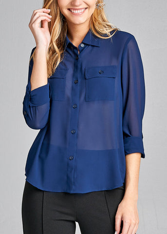 Office Business Wear 3/4 Sleeve Button Up Navy Blouse Top