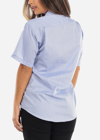 Image of Short Sleeve Light Blue Oxford Shirt