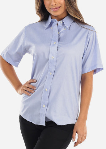 Short Sleeve Light Blue Oxford Shirt