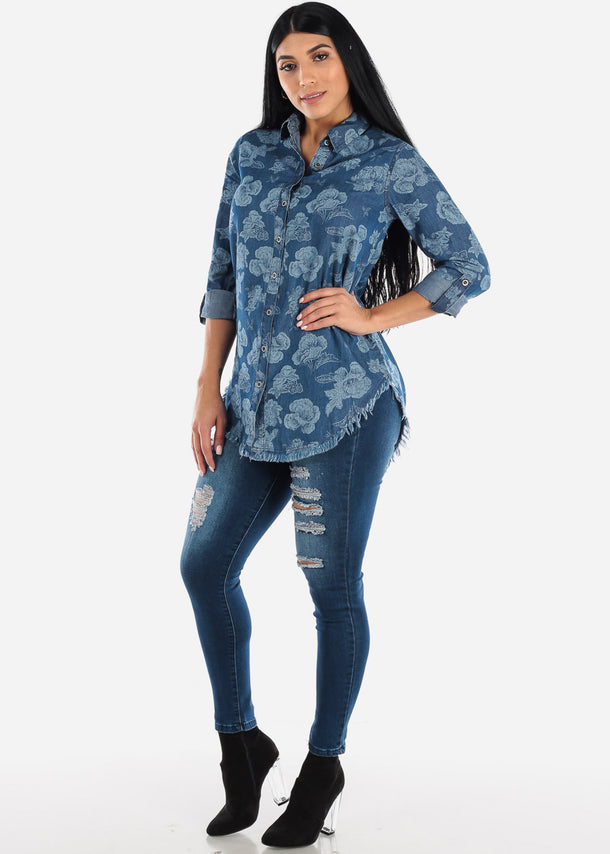 Cotton Floral Med Wash Denim Tunic Top