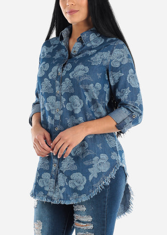 Floral Med Wash Denim Tunic Top