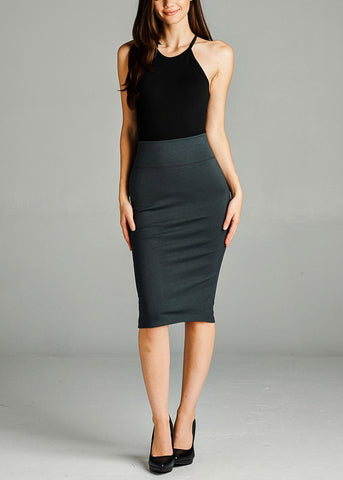 Image of Charcoal Pencil Skirt