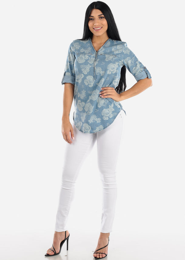 Cotton Floral Light Wash Denim Tunic Top