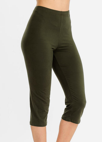 Pull On Olive Capri Leggings