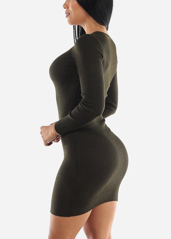 Ribbed Olive Bodycon Sweater Dress