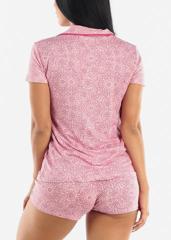 Image of Pink Printed Button Down PJ Set