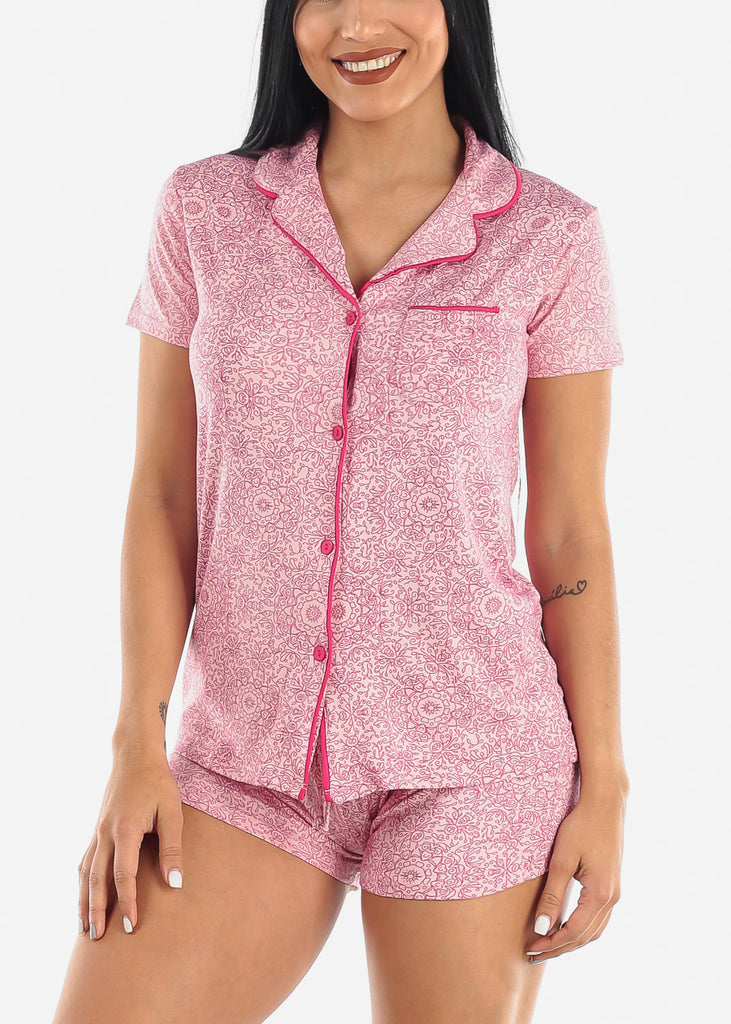 Pink Printed Button Down PJ Set
