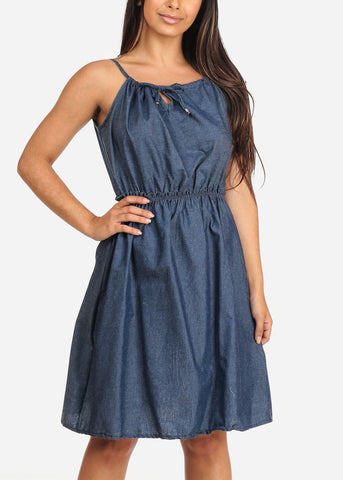 Women's Junior Ladies Stylish Summer Going Out Brunch Date Beach Cute Must Have Sleeveless Elastic Waist Line Dark Wash Denim Dress