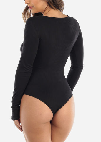 Back Half Button Long Sleeve Bodysuit