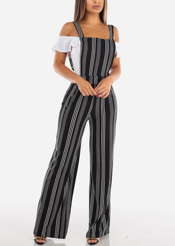 Image of Sexy Trendy Sleeveless Super Stretchy Solid Black Stripe Overall Jumpsuit Wide Legged For Women Ladies Junior On Sale 2019 New