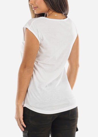 "Image of White Graphic Top ""Hello Weekend"""