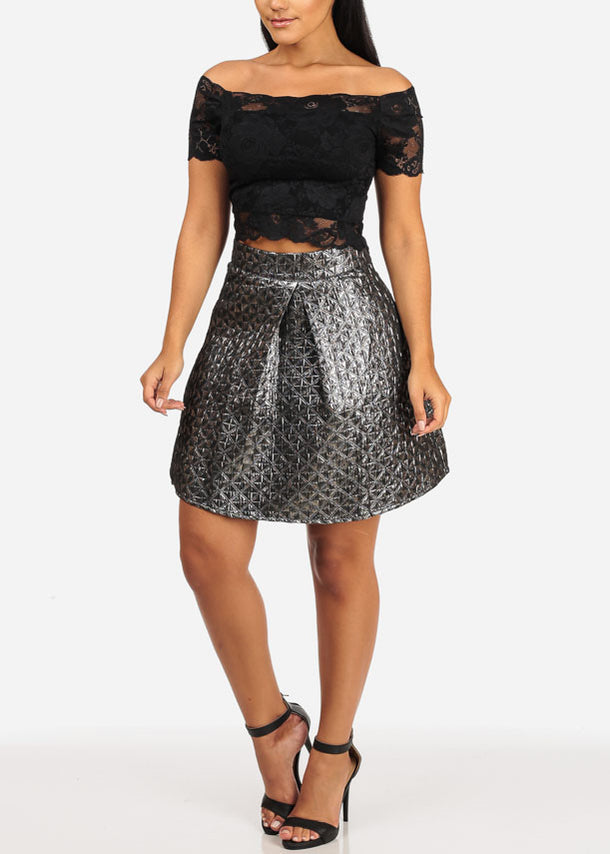 High Rise Flare Mini Skirt