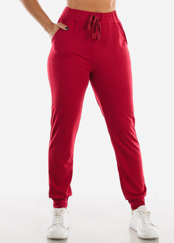 Image of High Waisted Red Jogger Pants
