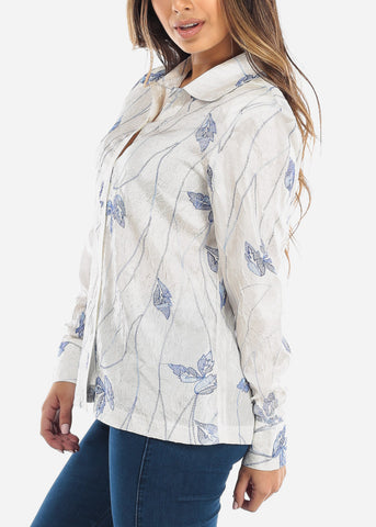 White Wrinkle Style Button Down Shirt