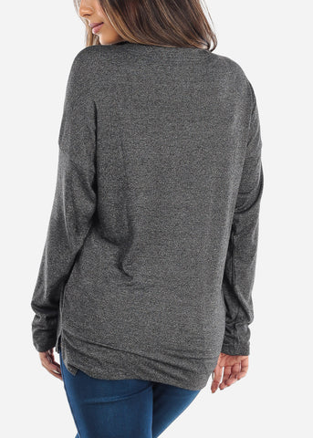 Image of Lace Up Charcoal Long Sleeve Top
