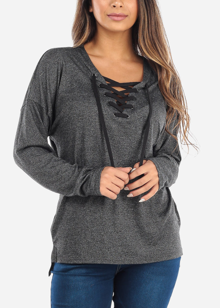 Lace Up Charcoal Long Sleeve Top