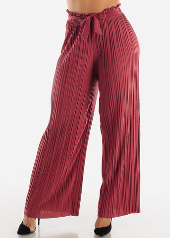 Wine Pleated Wide Legged Pants