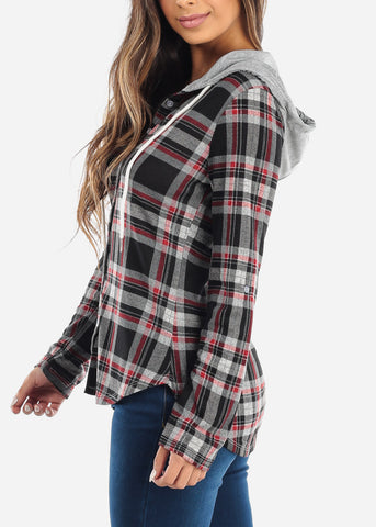 Image of Black & Red Plaid Flannel Hoodie