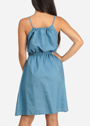 Women's Junior Ladies Stylish Summer Going Out Brunch Date Beach Cute Must Have Sleeveless Elastic Waist Line Light Wash Denim Dress