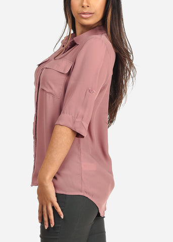 Image of Women's Junior Ladies Stylish Lightweight Short Sleeve Chiffon Button Up Dressy Mauve Blouse Top