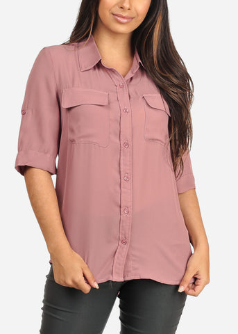 Women's Junior Ladies Stylish Lightweight Short Sleeve Chiffon Button Up Dressy Mauve Blouse Top