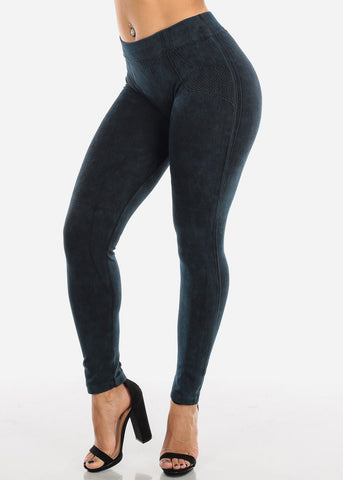 Image of False Jean Print Teal Leggings