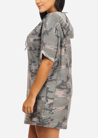 Image of Camouflage Dress W Hoodie